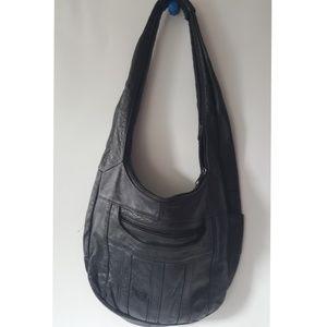 Vintage black hobo handbag glove soft large
